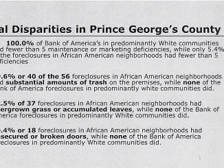 Figures from a document that outlines alleged housing racial disparities in Prince George's County /Courtesy of National Fair Housing Alliance