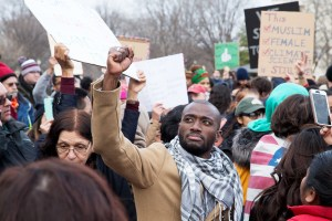 Hundreds of protesters demonstrate near the White House and Capitol on Sunday, Jan. 29 against President Trump's Muslim ban.