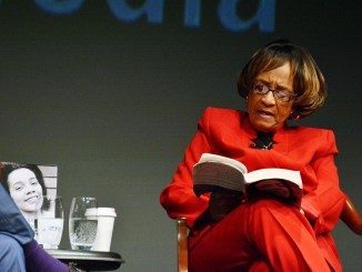 """Author Barbara Reynolds discusses her book """"My Life, My Love, My Legacy"""", co-authored with the late Coretta Scott King, at the Annenberg Theater of the Newseum on Saturday, Feb. 4 in Northwest. (Roy Lewis/The Washington Informer)"""