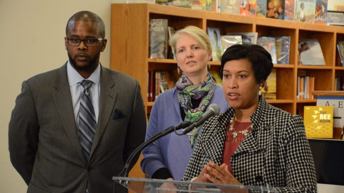 Mayor Muriel Bowser and Deputy Mayor of Education Jennifer Niles introduce Antwan Wilson as the new DCPS Chancellor at a press conference held at Alice Deal Middle School in Northwest on Feb. 1, 2017.