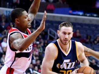 Utah Jazz forward Gordon Hayward drives to the basket against Washington Wizards guard Bradley Beal in the first quarter of Utah's 102-92 win at Verizon Center in northwest D.C. on Feb. 26. (John De Freitas/The Washington Informer)