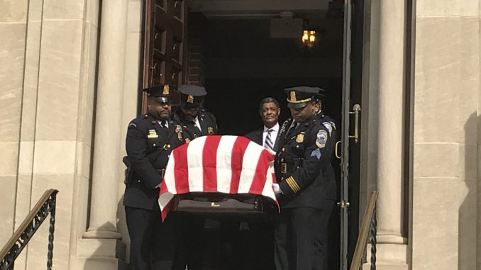 A funeral service for former D.C. Council member H.R. Crawford is held at Saint Francis Xavier Church in D.C. on Feb. 18. (Hamil R. Harris/The Washington Informer)