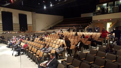 Dozens attend a budget hearing hosted by Prince George's County Executive Rushern L. Baker III at Oxon Hill High School on Jan. 31. (William J. Ford/The Washington Informer)