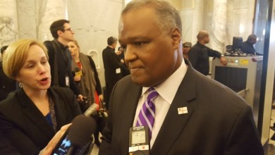 Prince George's County Executive Rushern L. Baker III speaks to reporters after Maryland Gov. Larry Hogan gave his State of the State address In Annapolis on Feb. 1.