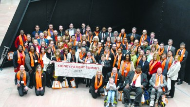 Kidney donors, kidney recipients and advocates ended the 4th annual Kidney Patient Summit with a group photo in the lobby of the Hart Senate Office Building of the Capitol in Northwest on Tuesday, March 7. (Travis Riddick/The Washington Informer)