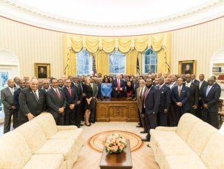 HBCU presidents meet with President Donald Trump on Feb. 27 in the White House.