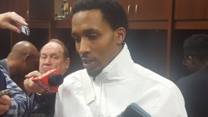 Washington Wizards guard Brandon Jennings speaks with the media after making his debut with the team in a 114-106 loss to the Toronto Raptors at Verizon Center in D.C. on March 3. (William J. Ford/The Washington Informer)