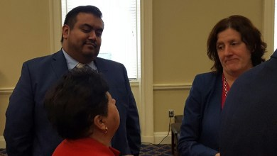 Maryland Del. Carlo Sanchez (center) participates in an April 3 press conference in Annapolis to advocate for legislation combating racial profiling against immigrants. (William J. Ford/The Washington Informer)