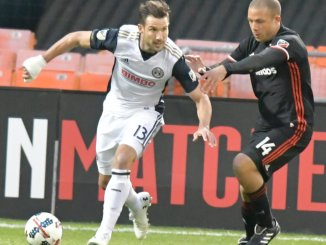 Philadelphia Union midfielder and former D.C. United starter takes on D.C. United defender Nick DeLeon during D.C. United 2-1 win at RFK Stadium in Southeast on Saturday, Apr. 1./Photo by John E. De Freitas