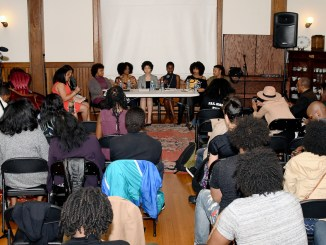 A panel of black female activists discuss the recent spate of missing black and Latina girls throughout D.C. at the Thurgood Marshall Center Trust headquarters in Northwest on March 29. (Travis Riddick/The Washington Informer)
