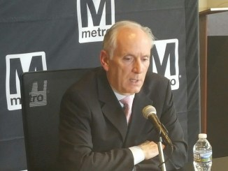 Metro General Manager Paul Wiedefeld discusses the agency's absenteeism policy with the media at the transit agency's headquarters in D.C. on April 27. (William J. Ford/The Washington Informer)