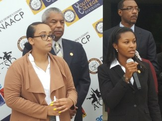Bowie State University student Charnell Ferguson (right) and recent University of Maryland graduate Yanet Amanule (left) speak at a May 30 news conference in Upper Marlboro about recommendations to help eliminate hate crimes after the fatal stabbing of Bowie State student Richard Collins III on the Maryland campus. (William J. Ford/The Washington Informer)