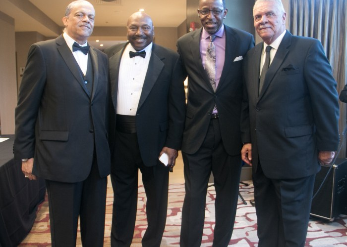 (L-R) Ronald Davis, Richard Myles Sr., CEO, founder and chairman of the Washington Chiefs Minor Football League, Lloyd Mayes, and 2017 inductee Eugene Davis at the 8th Annual Cardozo All-Met Hall of Fame Awards Dinner held on April 30, 2017 in Upper Marlboro, Md. /Photo by Shevry Lassiter