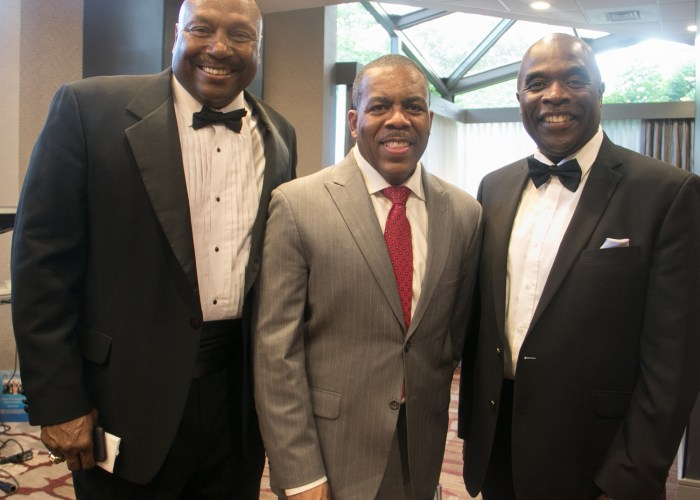 (L-R) Richard Myles Sr., CEO, founder and chairman of the Washington Chiefs Minor Football League, Gregory Rhinehart, and Dr. Maurice Butler at the 8th Annual Cardozo All-Met Hall of Fame Awards Dinner held on April 30, 2017 in Upper Marlboro, Md. /Photo by Shevry Lassiter