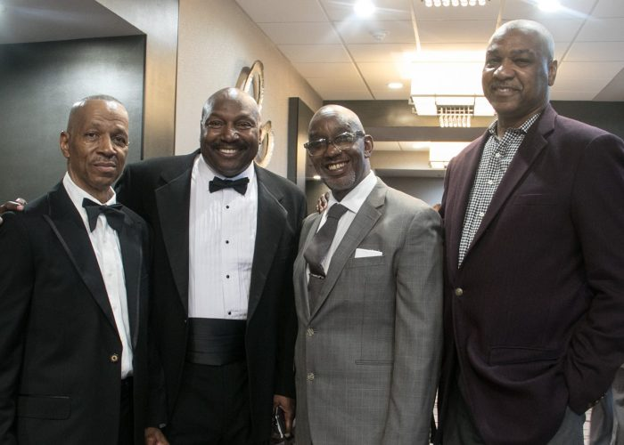 Larry Wiley, class of '71 and 2017 inductee, Richard Myles Sr., CEO, founder and chairman of the Washington Chiefs Minor Football League, Daryl Davis, 2017 inductee, and Tim Baylor, class of '72 and 2010 inductee and defensive back with the Baltimore Colts from 1976-79 and Minnesota Vikings from 1980-81, at the 8th Annual Cardozo All-Met Hall of Fame Awards Dinner held on April 30, 2017 in Upper Marlboro, Md. /Photo by Shevry Lassiter