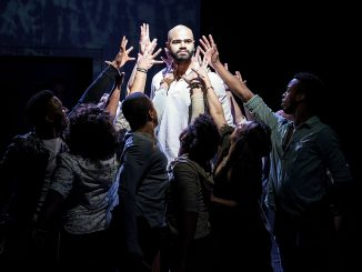 "Nicholas Edwards and the cast of ""Jesus Christ Superstar"" at Signature Theatre (Courtesy of Margot Schulman)"