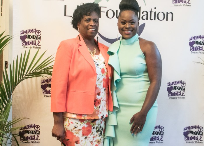 Pam Price, LM Foundation founder and gospel artist Jessica Greene pose together during a photo-op at the LM Foundation domestic awareness concert held at Nineteenth Street Baptist Church on May 6, 2017. /Photo by Shevry Lassiter