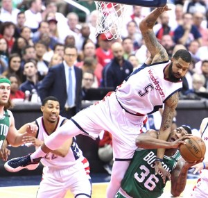 Washington Wizards forward Markieff Morris (5) defends Boston Celtics guard Marcus Smart in the second quarter of the Wizards' 121-102 win in Game 4 of the Eastern Conference semifinal series at Verizon Center in D.C. on May 7. (John De Freitas/The Washington Informer)