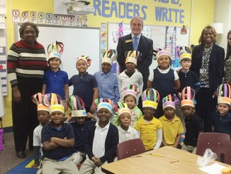 Georgia Public Schools Superintendent Richard Woods visits with children at an Atlanta-area elementary school. (Georgia Department of Education)