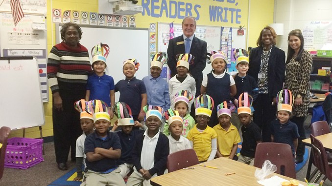 Georgia Public Schools Superintendent Richard Woods visits with children at an Atlanta-area elementary school. (Georgia Department of Education)