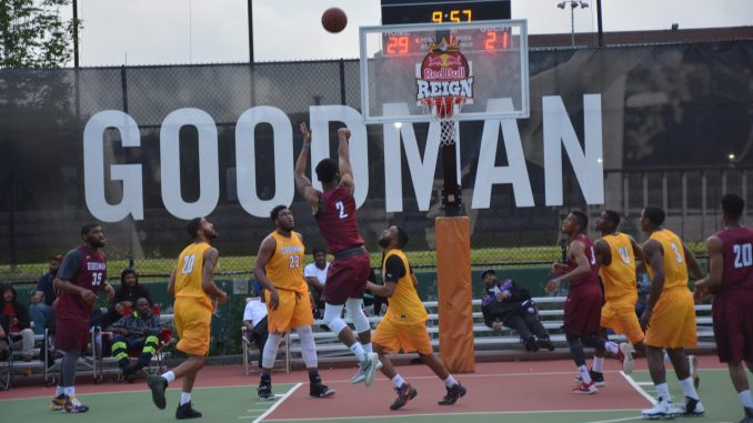 Team Ariyaun (in yellow) plays Team Bump n Run in the first game of the 2017 season of the Goodman League in southeast D.C. on May 30. (Roy Lewis/The Washington Informer)