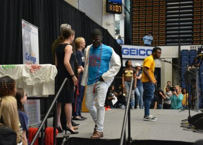 Over 200 high school seniors announce their college of choice at George Washington University's Smith Hall in Northwest on Friday, April 28, 2017. /Photo by Roy Lewis