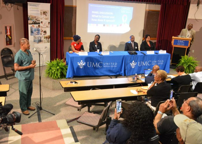 "From left: Dr. Lori Wilson, chief of surgical oncology at Howard University; cancer biologist Jasmaine McClain; Dr. Robert DeWitty Jr., surgical oncologist; and Dr. LeeAnn Bailey of the Center to Reduce Health Disparities participate in a panel discussion during the Sibley Oncology Clinic at United Medical Center's ""Cancer Awareness Day"" in southeast D.C. on May 20, 2017. (Roy Lewis/The Washington Informer)"