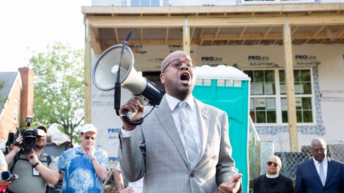 Damon Dozier, social justice minister of Washington Heights Baptist Church, speaks during a June 5 prayer vigil in protest of a noose found near Amanda Beers Elementary School in Ward 7. (Mark Mahoney/The Washington Informer)