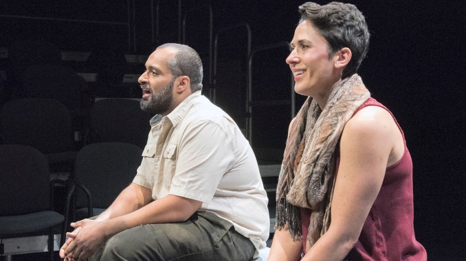 "Ahmad Kamal stars as Samer and Alyssa Wilmoth Keegan as Talia in ""The Return"" at Mosaic Theater Company of DC. (Photo by Stan Barouh)"