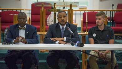From left: Maryland state Rep. Tony Knotts, state Sen. C. Anthony Muse and Prince George's County School Board member David Murray speak during opening statements for a public forum about the county schools system at Southern Friendship Missionary Baptist Church in Temple Hills on June 8. (Lateef Mangum/The Washington Informer)
