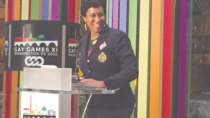 D.C. Mayor Bowser states the city's case to host of the 2022 Gay Games during a June 28, 2017, rally at the National Museum of the American Indian. (Courtesy of Muriel Bowser via Twitter)