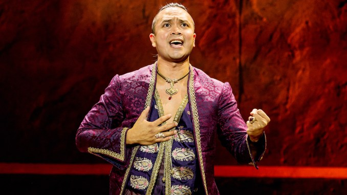 "Jose Llanas as the King in Rodgers and Hammerstein's ""The King and I"" (Photo by Matthew Murphy)"