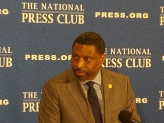 NAACP interim CEO and President Derrick Johnson speaks at an Aug. 29 luncheon at the National Press Club in northwest D.C. (William J. Ford/The Washington Informer)
