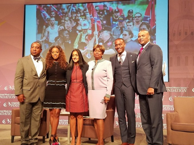 Jeff Johnson (second from right) moderates a panel on civil rights at the Congressional Black Caucus Foundation's 47th Annual Legislative Conference in northwest D.C. on Sept. 21. (William J. Ford/The Washington Informer)