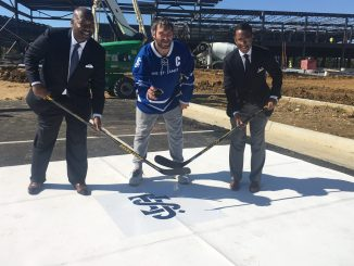 Kendrick Ashton and Craig Dixon of the St. James Group and Washington Capitals star Alexander Ovechkin break ground on Sept. 7 for the St. James Complex in Springfield, Virginia, scheduled to open September 2018.