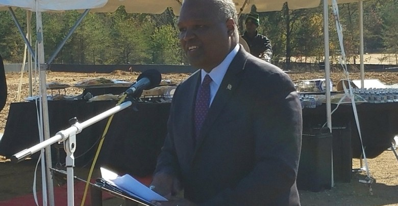 Prince George's County Executive Rushern L. Baker III speaks during an Oct. 30 groundbreaking ceremony to relocate the U.S. Citizenship and Immigration Services headquarters to Camp Springs. (William J. Ford/The Washington Informer)