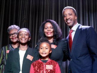 Ward 5 Council member Kenyan McDuffie is joined by his family during his re-election campaign kickoff event at Ivy City Smokehouse on Nov. 15. (Demetrious Kinney/The Washington Informer)