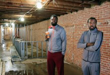 Jeff Miskiri (left) and Ian Reid, co-owners of Po Boy Jim, inspect the rooftop construction at their second location in the 9th and U streets in northwest D.C. (Courtesy of Wacif)