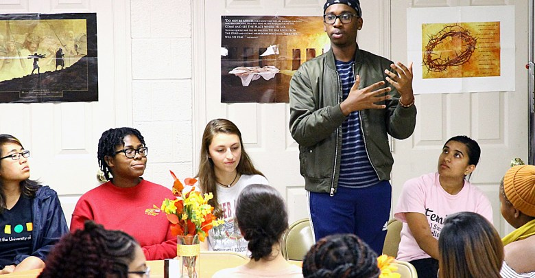 Students from the University of North Carolina answer questions from D.C. students as part of the College Bound program in Northwest on Oct. 19. (E Watson/EDI Photo)