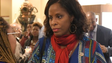 "Virgin Islands Rep. Stacey Plaskett joined several dozen attendants for the documentary premiere of ""Dear Everybody."" (Roy Lewis/The Washington Informer)"
