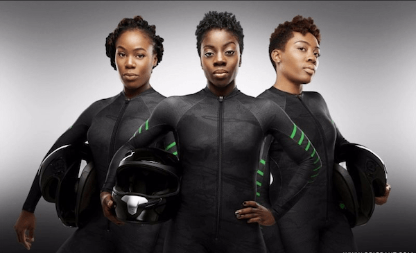 The Olympics' first African bobsled team (Courtesy of obigrant.com)