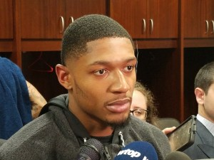 Washington Wizards shooting guard Bradley Beal speaks with reporters after the team's 122-116 loss to the Phoenix Suns at Capital One Arena in D.C. on Nov. 1. (William J. Ford/The Washington Informer)