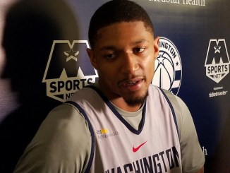 Washington Wizards shooting guard Bradley Beal speaks with reporters after practice at Capital One Arena in D.C. on Nov. 27. (William J. Ford/The Washington Informer)