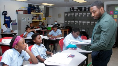 Brandon Frey teaches a math lesson to fifth-graders at Democracy Prep in southeast D.C. (Shevry Lassiter/The Washington Informer)
