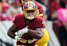 Washington Redskins running back Samaje Perine (32) rushed for 45 yards in a 30-13 road loss to the Los Angeles Chargers on Dec. 10. (Daniel Kucin Jr./The Washington Informer)