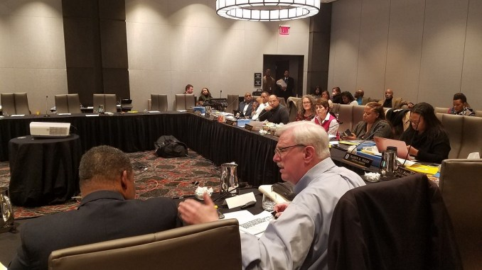 Maryland state Sen. Jim Rosapepe (right) explains proposed legislation on school construction during the Prince George's County Council's annual retreat at the Hotel at the University of Maryland on Jan. 4. (William J. Ford/The Washington Informer)