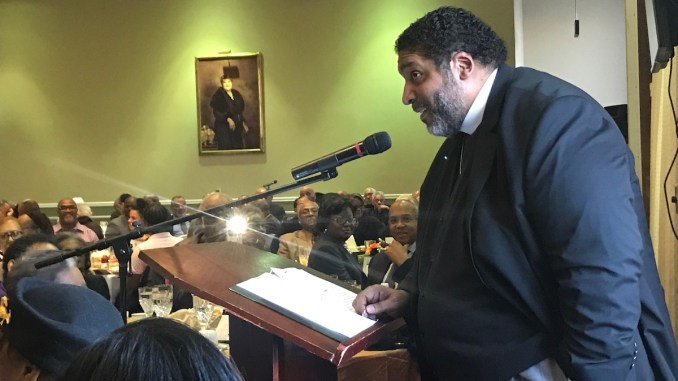 Rev. William Barber II speaks during the 27th annual Martin Luther King Memorial Prayer Breakfast at the Shiloh Baptist Church in D.C. on Jan. 20. (Hamil Harris/The Washington Informer)