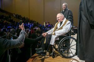 Rev. Jeremiah Wright greets parishioners following his sermon at the Rankin Chapel service at Lisner Auditorium on the campus of George Washington University on Jan. 14. (Courtesy of Rankin Chapel)