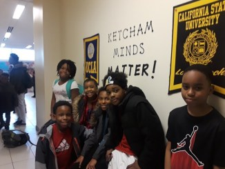 From left: Ketcham Elementary School students Clifton Covington, Antoinette Poindexter, Leah Shuler, Marvell Chambers, Tye'zaeha Garvin-Bailey and Cameron Gardner (Dorothy Rowley/The Washington Informer)