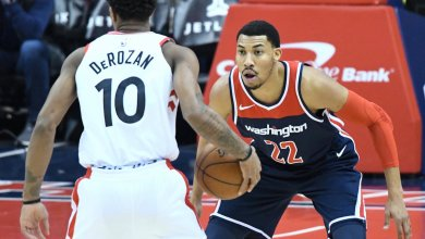 Washington Wizards forward Otto Porter Jr. defends Toronto Raptors guard DeMar DeRozan during Wizards' 122-119 win at Capital One Arena in D.C. on Feb. 1. (John De Freitas/The Washington Informer)